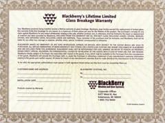 Glass Break BlackBerry Warranty - Small Sized