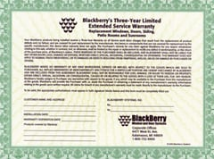 3 Year BlackBerry Warranty - Small Sized