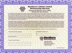 Workmanship BlackBerry Warranty - Small Sized