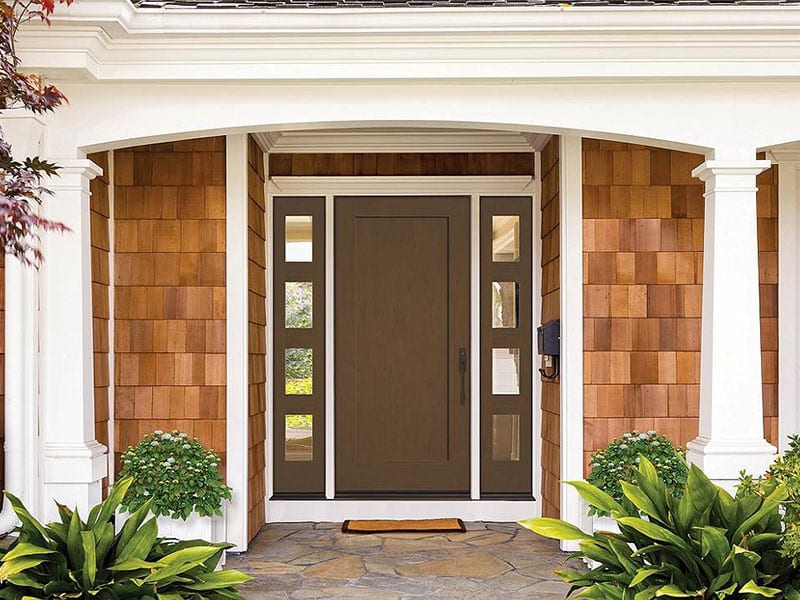 Exterior Shot of Stained Entry Doors From BlackBerry