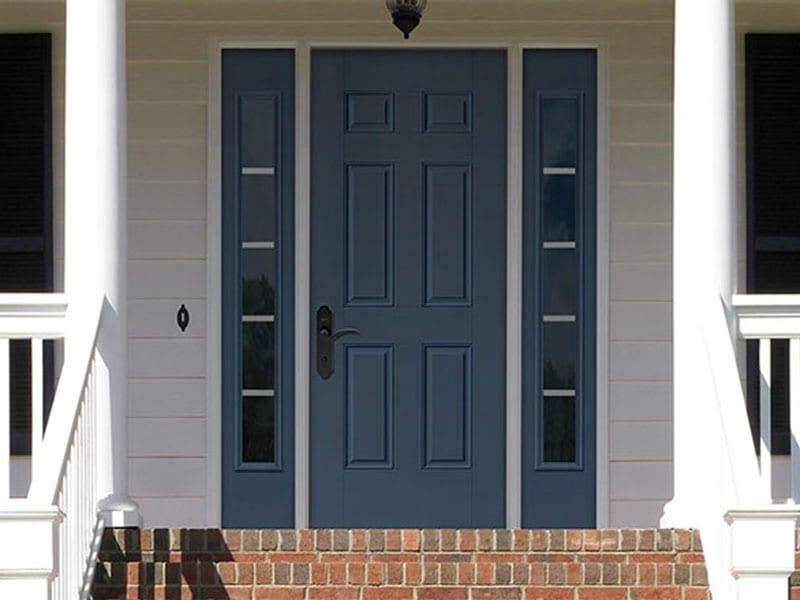 Screen-Vented Sidelites Dark Blue Entry Door
