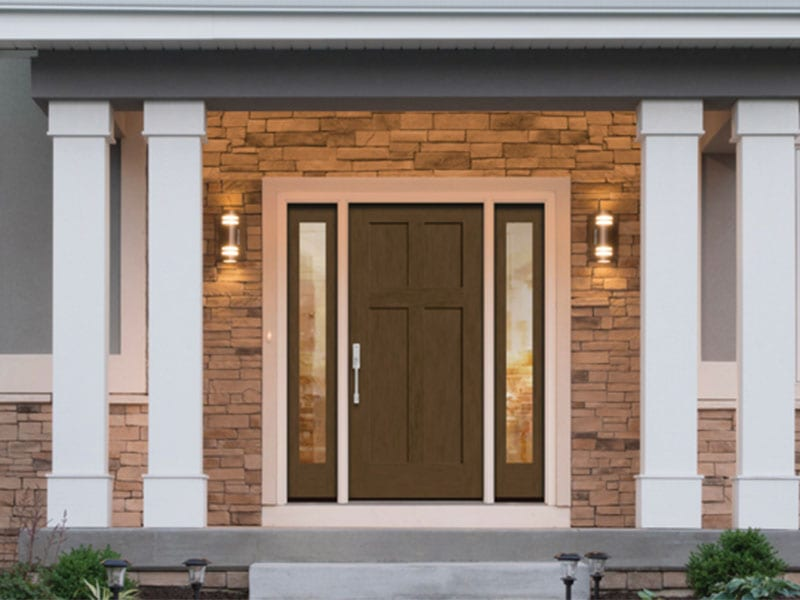 Energy Efficient Low-E Glass Brown Colored Entry Door