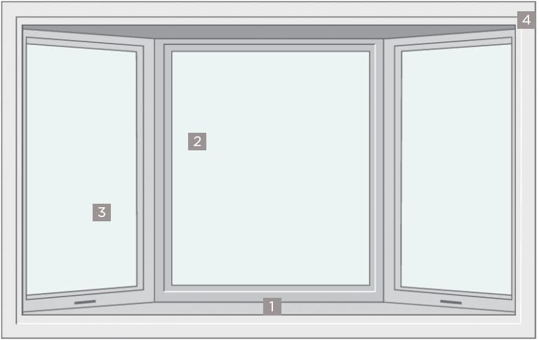 Diagram | Bow Window designed with 3, 4, 5 or 6 equal lites, all set at 10° angles, for versatile window design.
