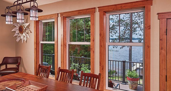 Double contoured narrow-line window design to emulate the look of traditional wood-frame windows
