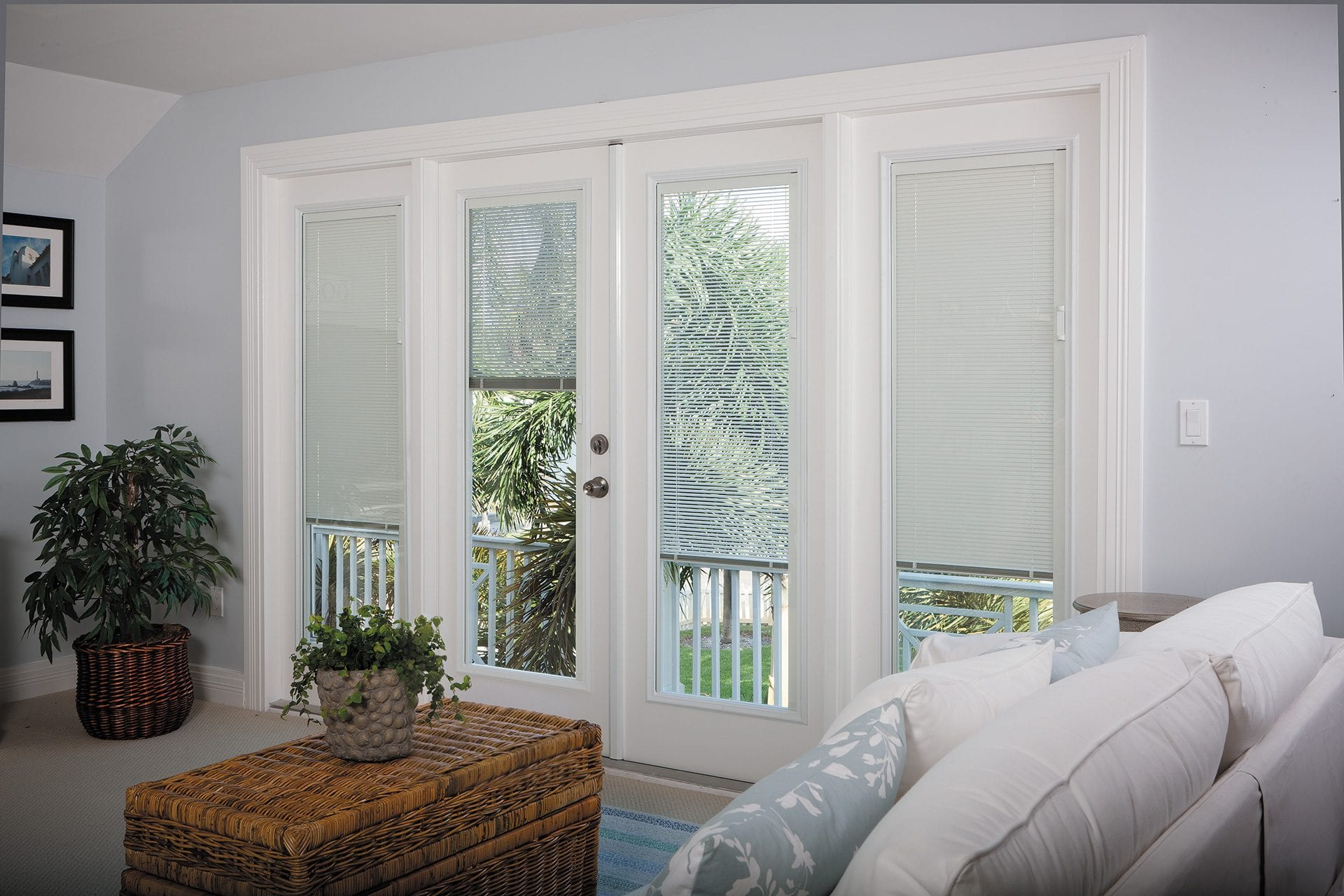 White and bright vinyl patio doors feature design details and decorative options